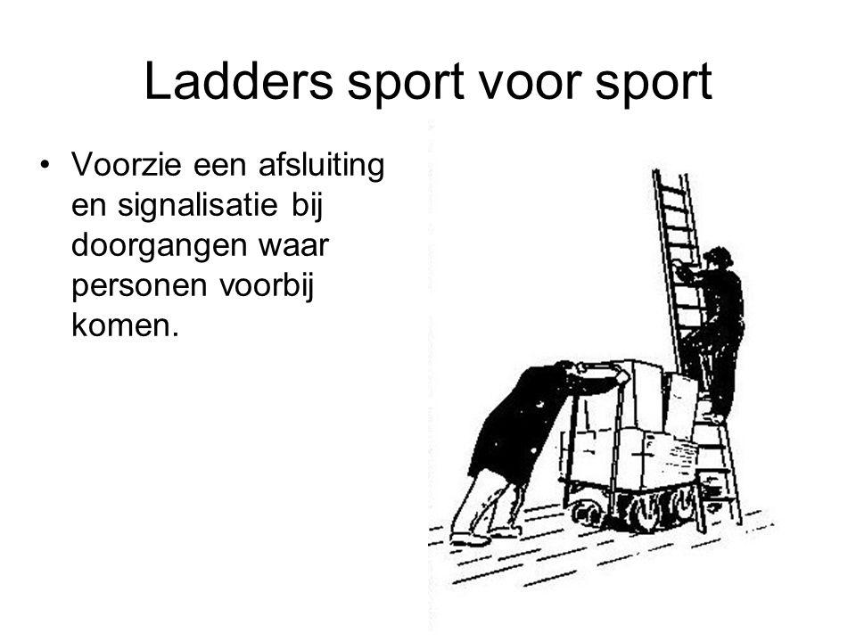 Ladders sport voor sport Voorzie een afsluiting en signalisatie bij doorgangen waar personen voorbij komen.