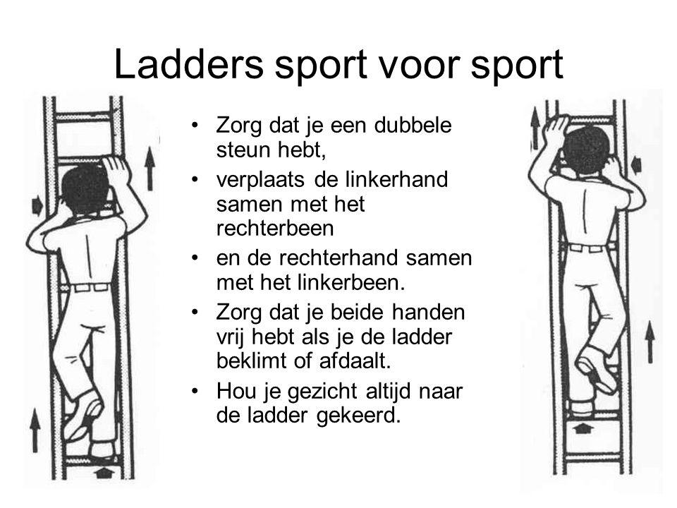Ladders sport voor sport Zorg dat je een dubbele steun hebt, verplaats de linkerhand samen met het rechterbeen en de rechterhand samen met het linkerb