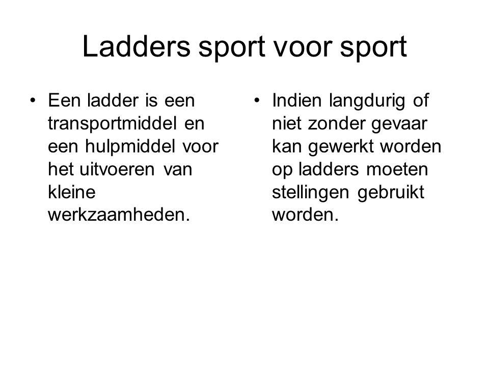 Ladders sport voor sport Indien langdurig of niet zonder gevaar kan gewerkt worden op ladders moeten stellingen gebruikt worden. Een ladder is een tra