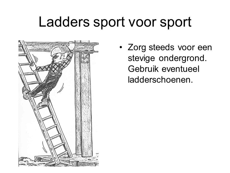 Ladders sport voor sport Zorg steeds voor een stevige ondergrond. Gebruik eventueel ladderschoenen.