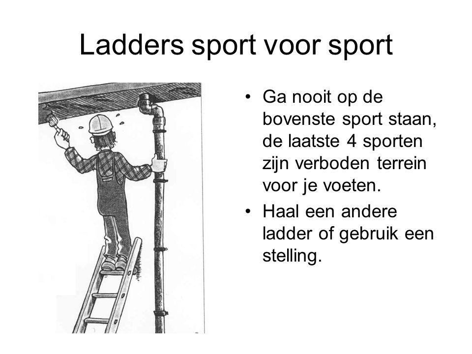 Ladders sport voor sport Ga nooit op de bovenste sport staan, de laatste 4 sporten zijn verboden terrein voor je voeten. Haal een andere ladder of geb