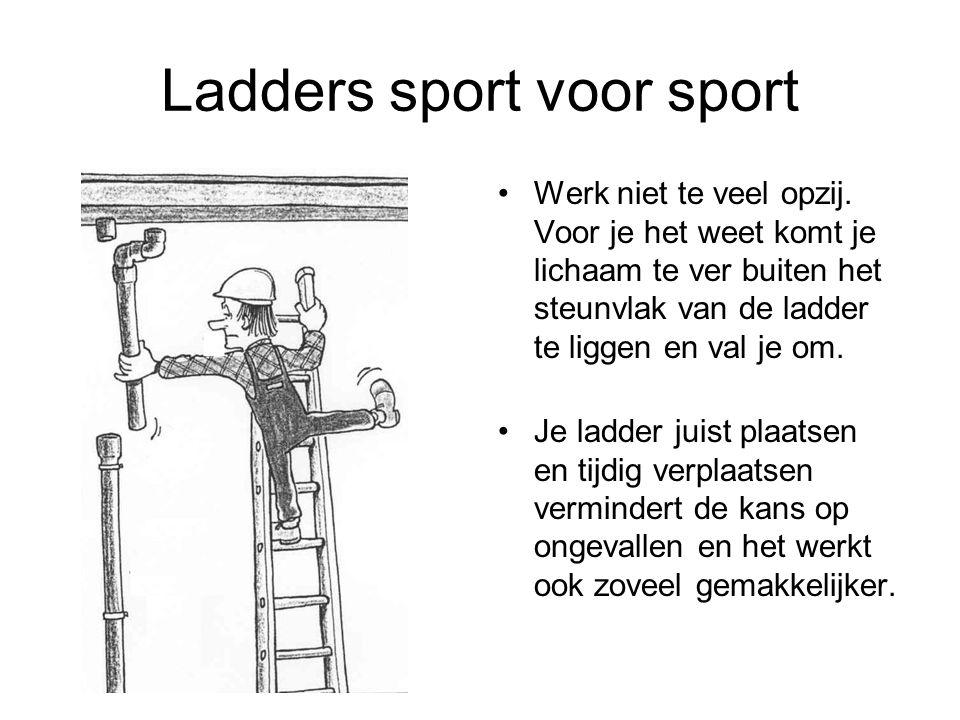 Ladders sport voor sport Werk niet te veel opzij. Voor je het weet komt je lichaam te ver buiten het steunvlak van de ladder te liggen en val je om. J