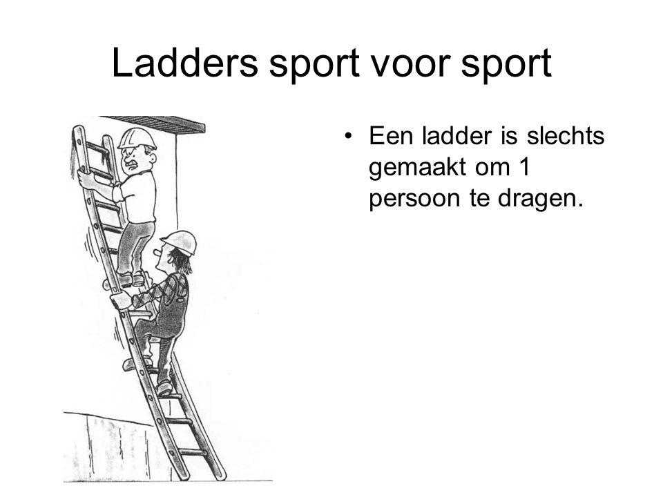 Ladders sport voor sport Een ladder is slechts gemaakt om 1 persoon te dragen.
