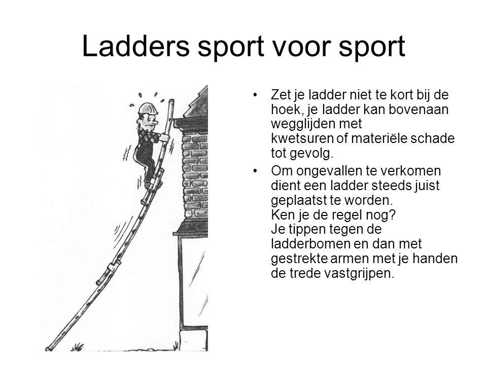 Ladders sport voor sport Zet je ladder niet te kort bij de hoek, je ladder kan bovenaan wegglijden met kwetsuren of materiële schade tot gevolg. Om on