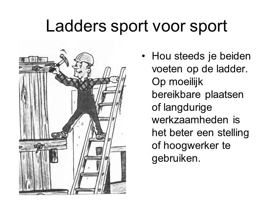 Ladders sport voor sport Hou steeds je beiden voeten op de ladder. Op moeilijk bereikbare plaatsen of langdurige werkzaamheden is het beter een stelli
