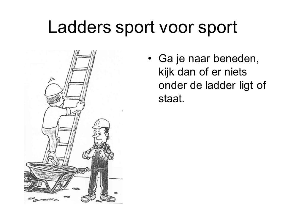 Ladders sport voor sport Ga je naar beneden, kijk dan of er niets onder de ladder ligt of staat.