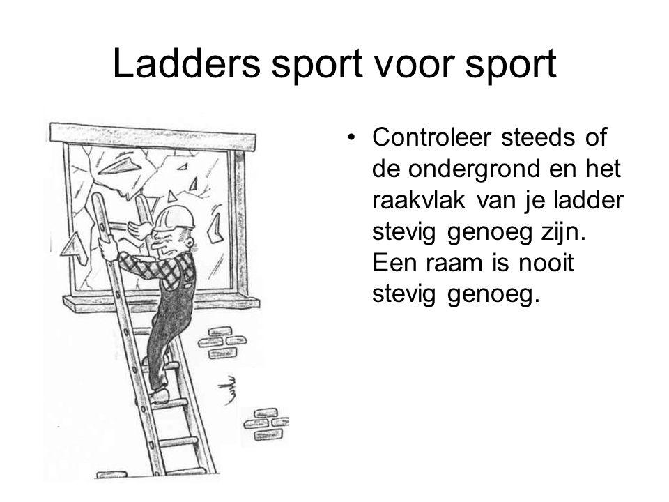 Ladders sport voor sport Controleer steeds of de ondergrond en het raakvlak van je ladder stevig genoeg zijn. Een raam is nooit stevig genoeg.