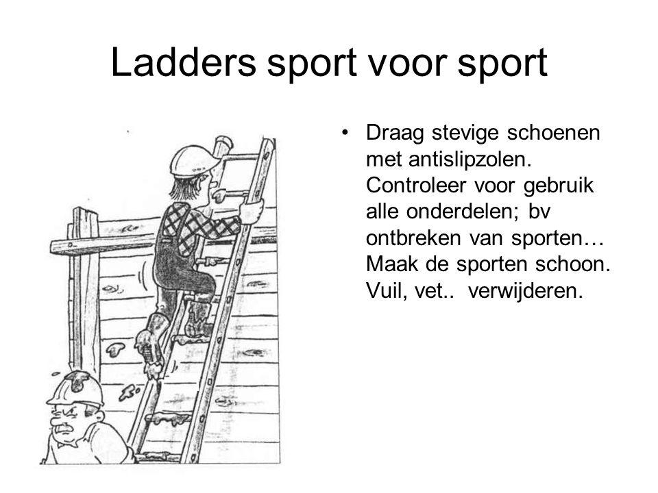 Ladders sport voor sport Draag stevige schoenen met antislipzolen. Controleer voor gebruik alle onderdelen; bv ontbreken van sporten… Maak de sporten