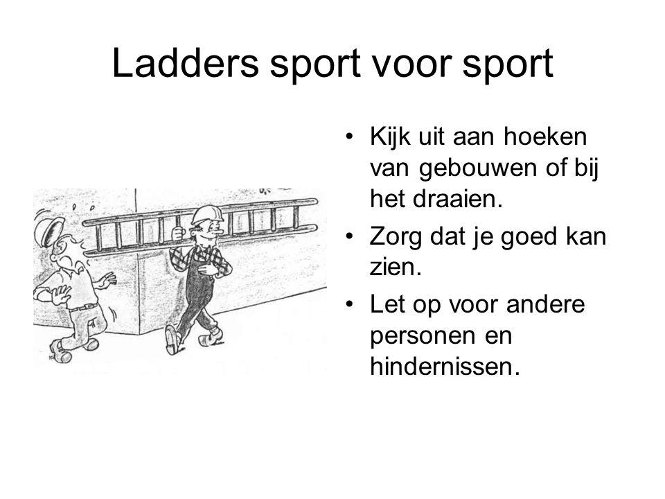 Ladders sport voor sport Kijk uit aan hoeken van gebouwen of bij het draaien. Zorg dat je goed kan zien. Let op voor andere personen en hindernissen.