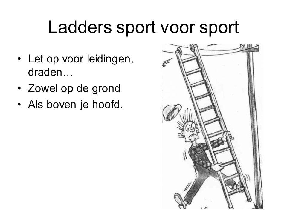 Ladders sport voor sport Let op voor leidingen, draden… Zowel op de grond Als boven je hoofd.