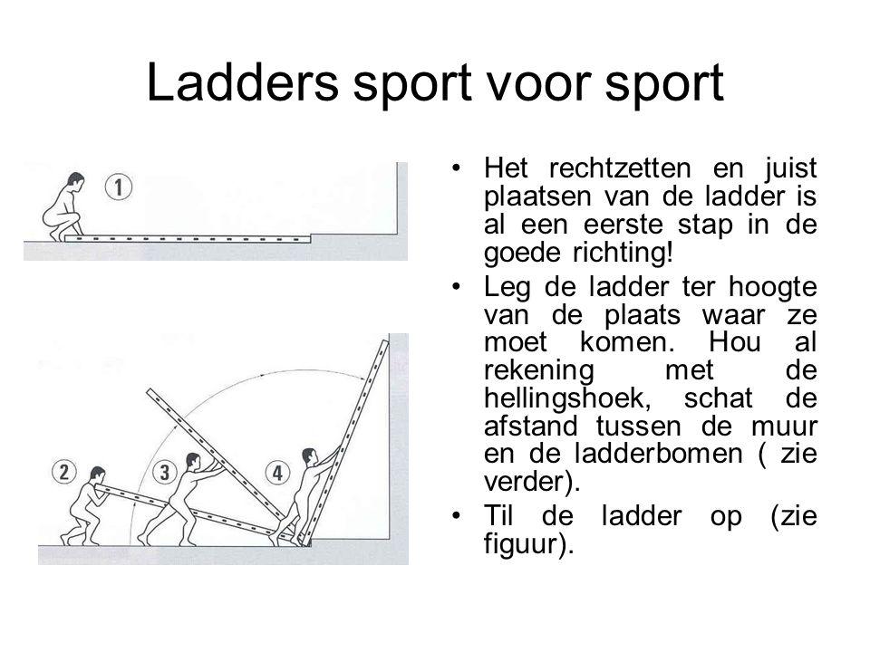Ladders sport voor sport Het rechtzetten en juist plaatsen van de ladder is al een eerste stap in de goede richting! Leg de ladder ter hoogte van de p