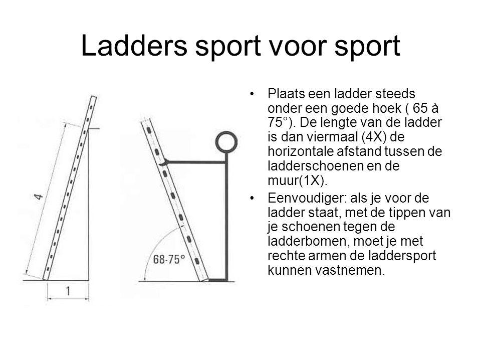 Ladders sport voor sport Plaats een ladder steeds onder een goede hoek ( 65 à 75°). De lengte van de ladder is dan viermaal (4X) de horizontale afstan