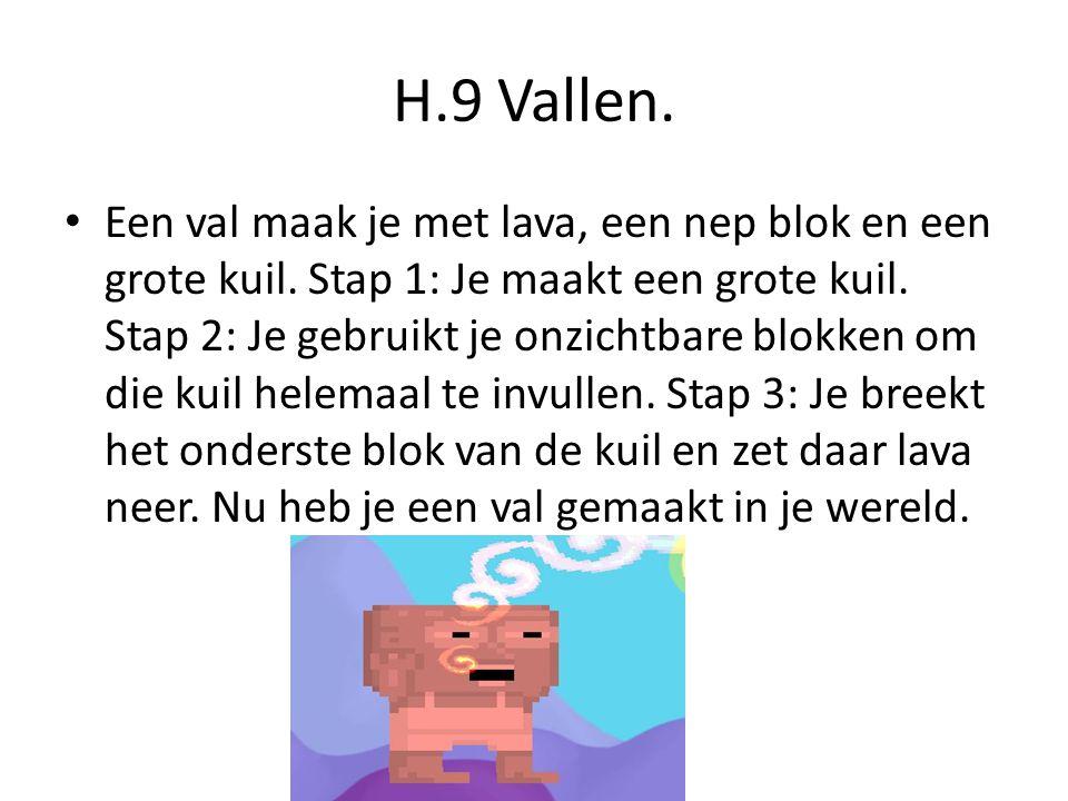 H.9 Vallen.Een val maak je met lava, een nep blok en een grote kuil.
