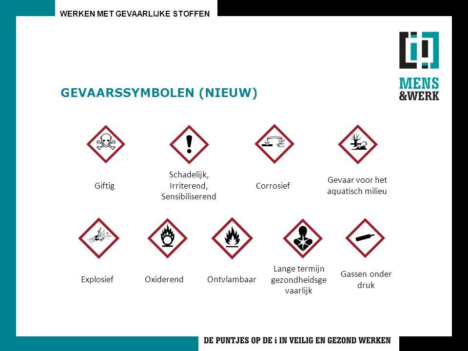 WERKEN MET GEVAARLIJKE STOFFEN GEVAARSSYMBOLEN (NIEUW) Giftig Schadelijk, Irriterend, Sensibiliserend Corrosief Gevaar voor het aquatisch milieu Explo