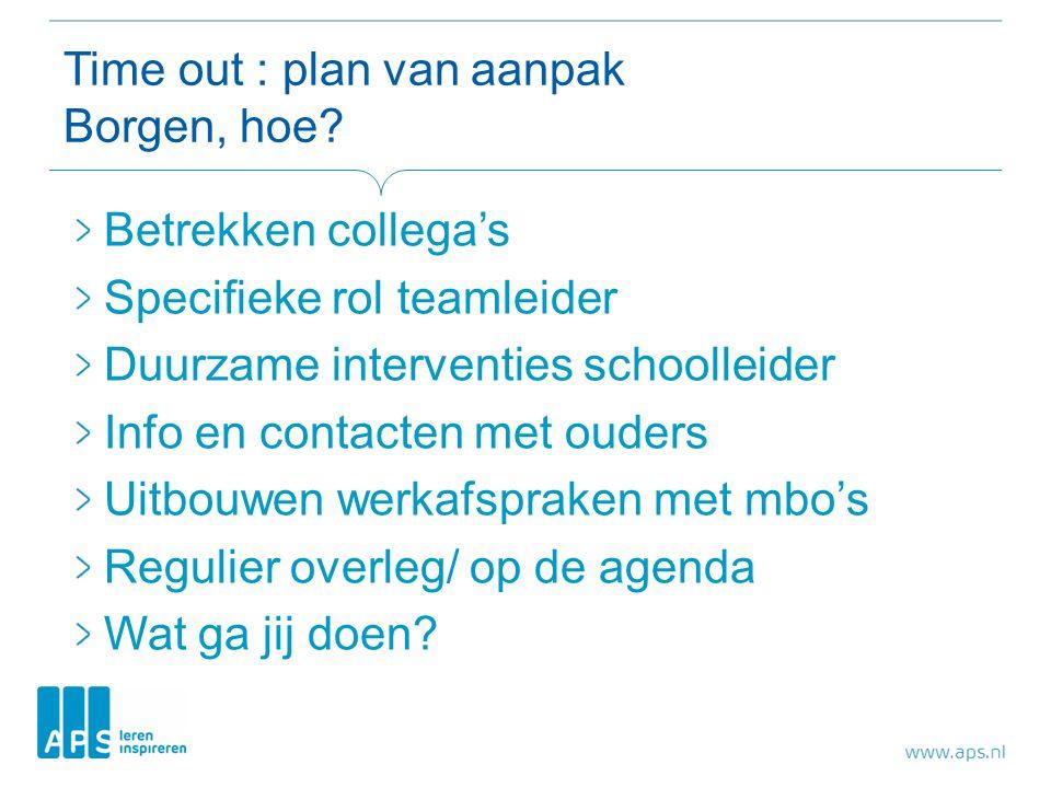 Time out : plan van aanpak Borgen, hoe.