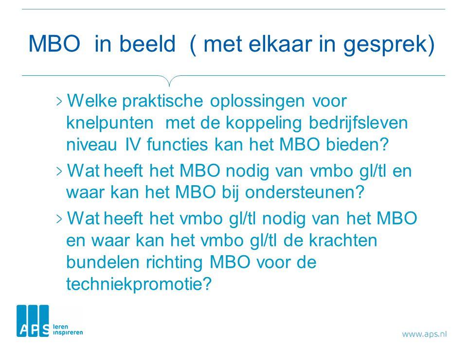 MBO in beeld ( met elkaar in gesprek) Welke praktische oplossingen voor knelpunten met de koppeling bedrijfsleven niveau IV functies kan het MBO bieden.