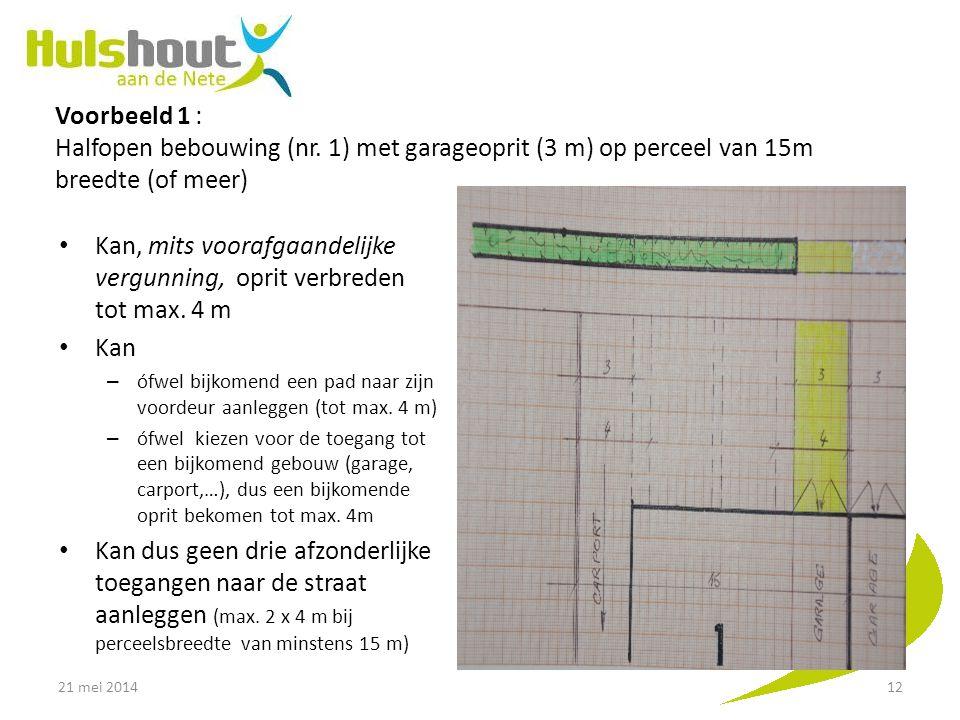 Voorbeeld 1 : Halfopen bebouwing (nr. 1) met garageoprit (3 m) op perceel van 15m breedte (of meer) Kan, mits voorafgaandelijke vergunning, oprit verb