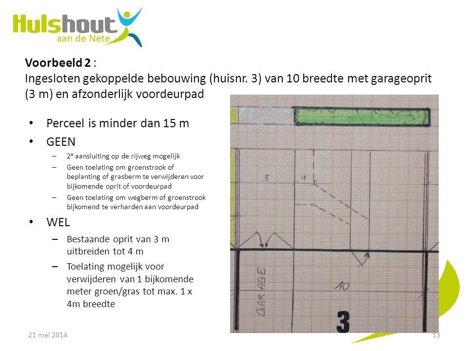 Voorbeeld 2 : Ingesloten gekoppelde bebouwing (huisnr. 3) van 10 breedte met garageoprit (3 m) en afzonderlijk voordeurpad Perceel is minder dan 15 m