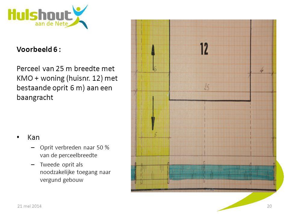 Voorbeeld 6 : Perceel van 25 m breedte met KMO + woning (huisnr. 12) met bestaande oprit 6 m) aan een baangracht Kan – Oprit verbreden naar 50 % van d