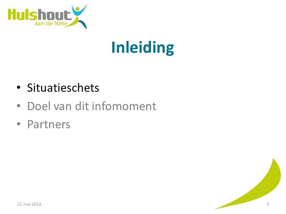 Inleiding Situatieschets Doel van dit infomoment Partners 21 mei 20143