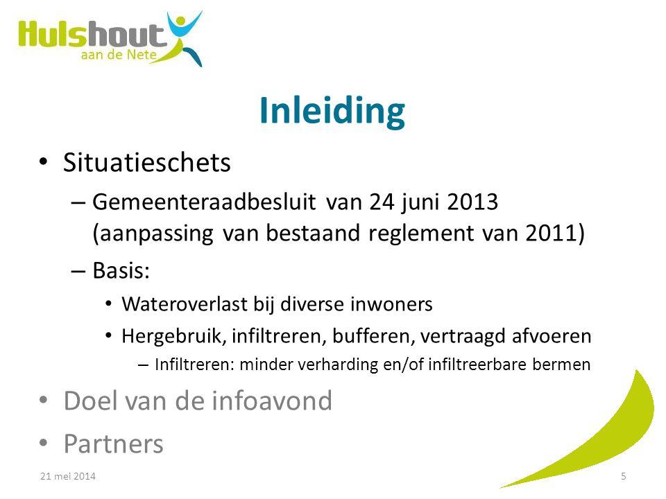 Inleiding Situatieschets – Gemeenteraadbesluit van 24 juni 2013 (aanpassing van bestaand reglement van 2011) – Basis: Wateroverlast bij diverse inwone