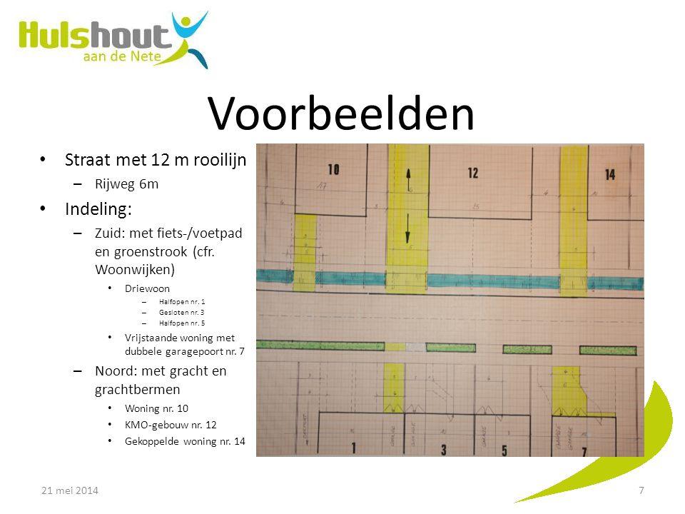 Voorbeelden Straat met 12 m rooilijn – Rijweg 6m Indeling: – Zuid: met fiets-/voetpad en groenstrook (cfr. Woonwijken) Driewoon – Halfopen nr. 1 – Ges