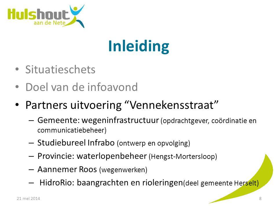 """Inleiding Situatieschets Doel van de infoavond Partners uitvoering """"Vennekensstraat"""" – Gemeente: wegeninfrastructuur (opdrachtgever, coördinatie en co"""
