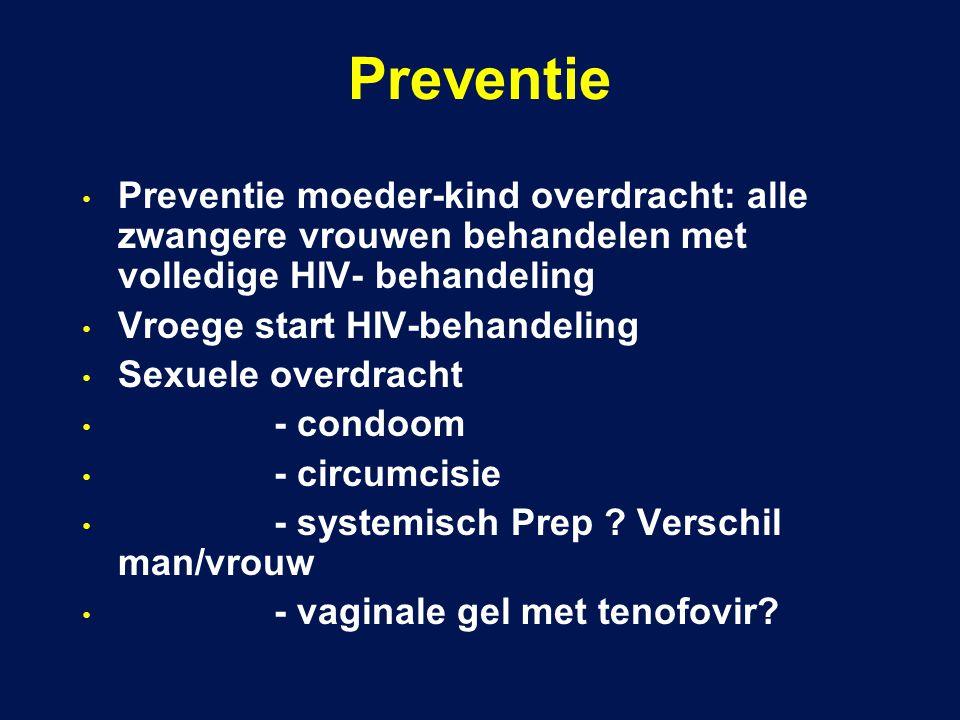 Preventie Preventie moeder-kind overdracht: alle zwangere vrouwen behandelen met volledige HIV- behandeling Vroege start HIV-behandeling Sexuele overdracht - condoom - circumcisie - systemisch Prep .