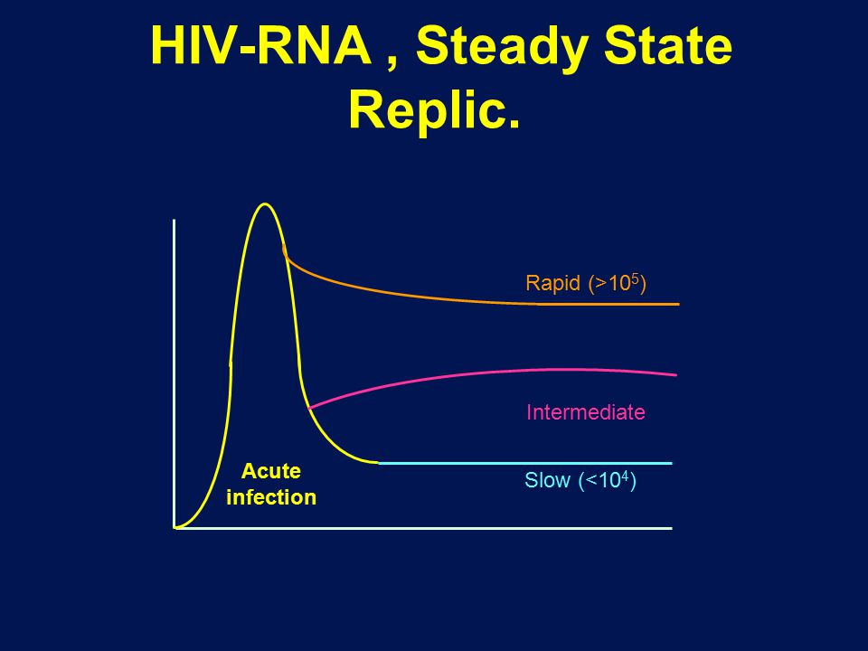 HIV-RNA, Steady State Replic. HIV-1 RNA Slow (<10 4 ) Rapid (>10 5 ) Intermediate Stabilization over 2-3 mos Acute infection