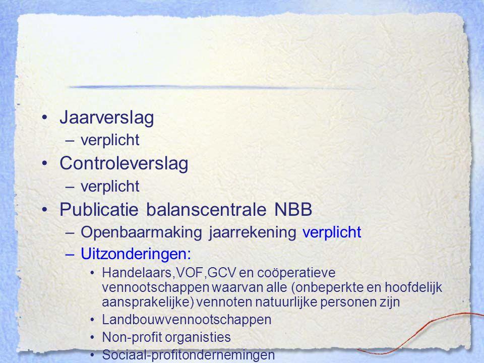 Jaarverslag –verplicht Controleverslag –verplicht Publicatie balanscentrale NBB –Openbaarmaking jaarrekening verplicht –Uitzonderingen: Handelaars,VOF