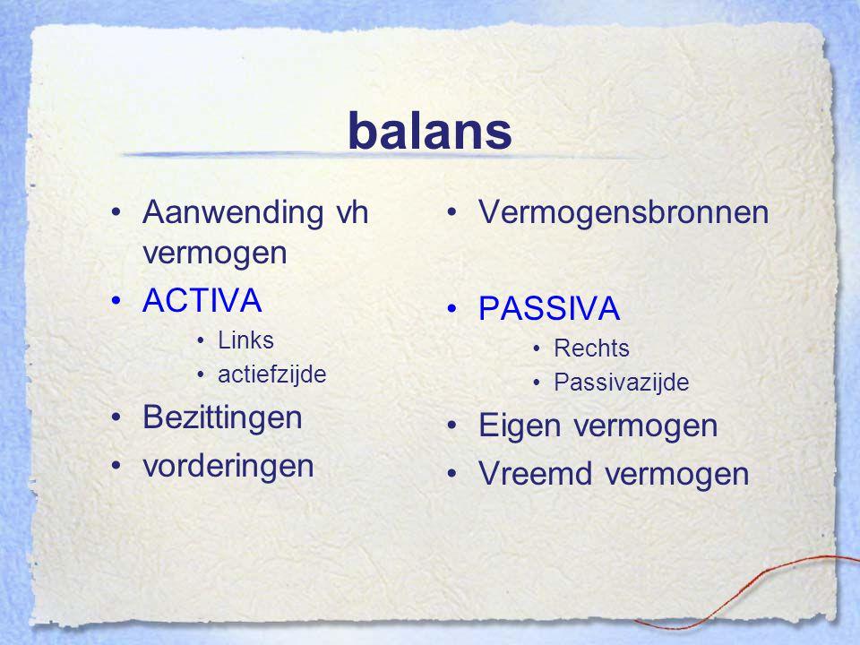 balans Aanwending vh vermogen ACTIVA Links actiefzijde Bezittingen vorderingen Vermogensbronnen PASSIVA Rechts Passivazijde Eigen vermogen Vreemd verm