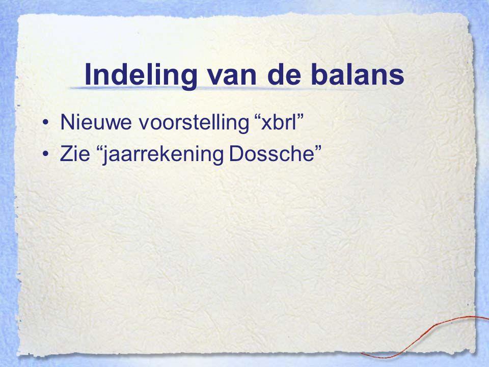 """Indeling van de balans Nieuwe voorstelling """"xbrl"""" Zie """"jaarrekening Dossche"""""""