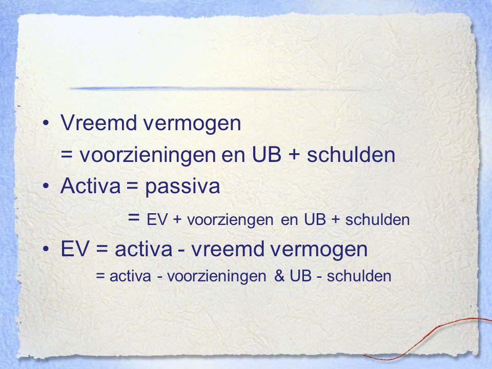 Vreemd vermogen = voorzieningen en UB + schulden Activa = passiva = EV + voorziengen en UB + schulden EV = activa - vreemd vermogen = activa - voorzie