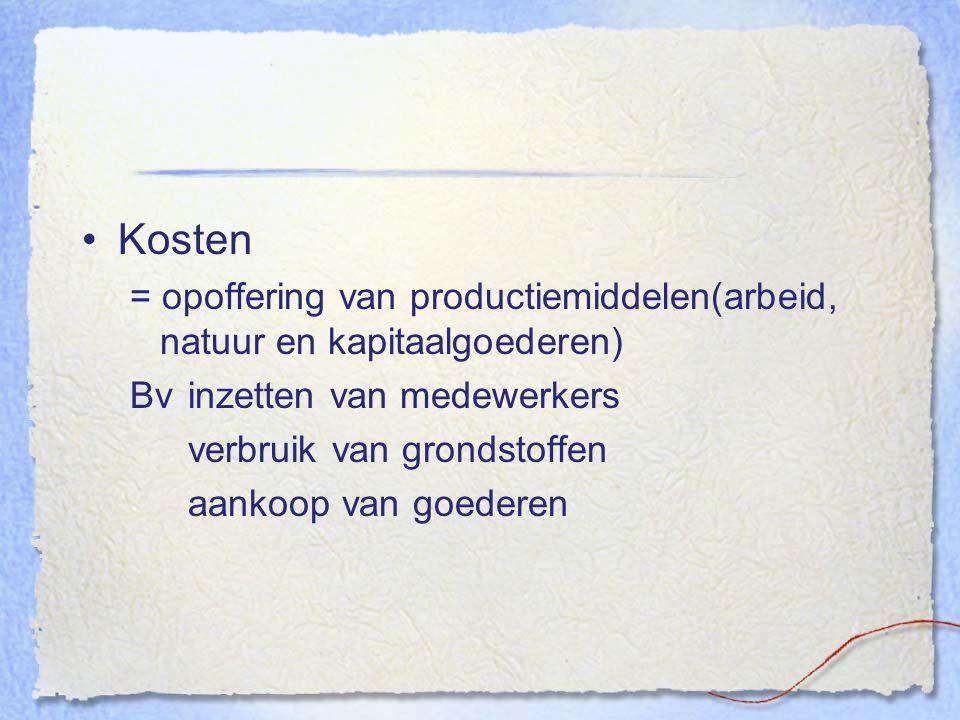Kosten = opoffering van productiemiddelen(arbeid, natuur en kapitaalgoederen) Bv inzetten van medewerkers verbruik van grondstoffen aankoop van goeder