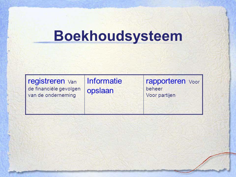 Boekhoudsysteem registreren Van de financiële gevolgen van de onderneming Informatie opslaan rapporteren Voor beheer Voor partijen