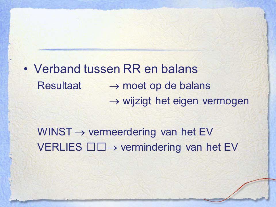 Verband tussen RR en balans Resultaat  moet op de balans  wijzigt het eigen vermogen WINST  vermeerdering van het EV VERLIES  vermindering van het