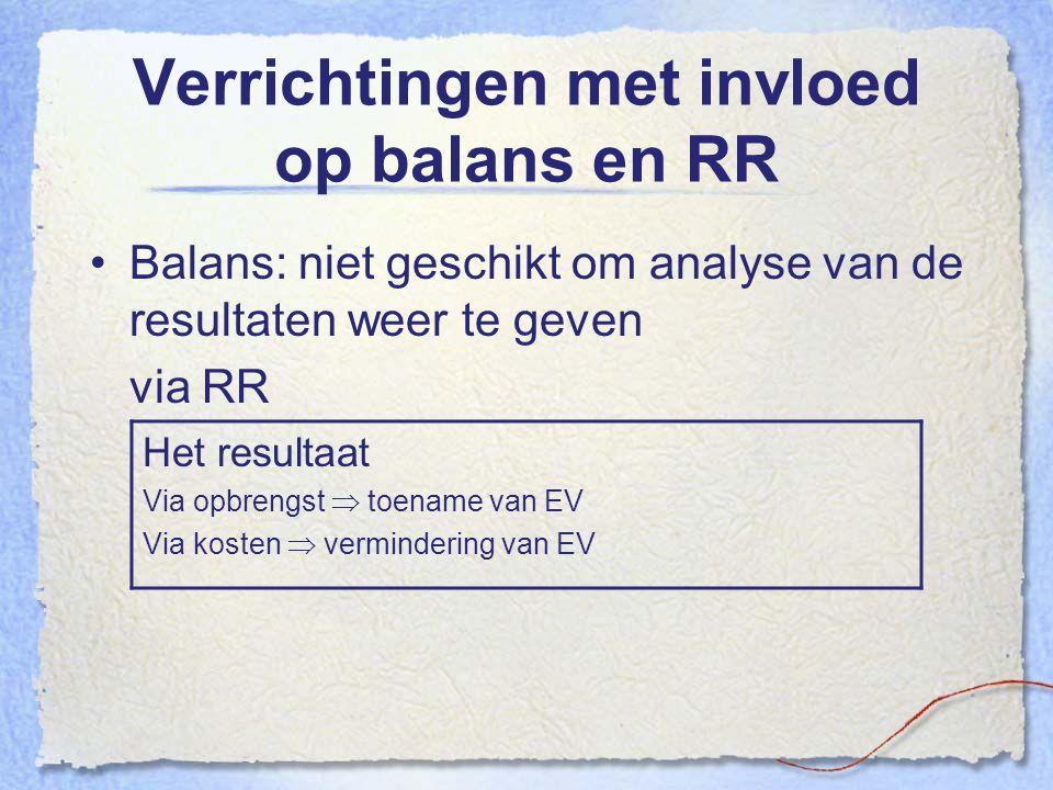 Verrichtingen met invloed op balans en RR Balans: niet geschikt om analyse van de resultaten weer te geven via RR Het resultaat Via opbrengst  toenam