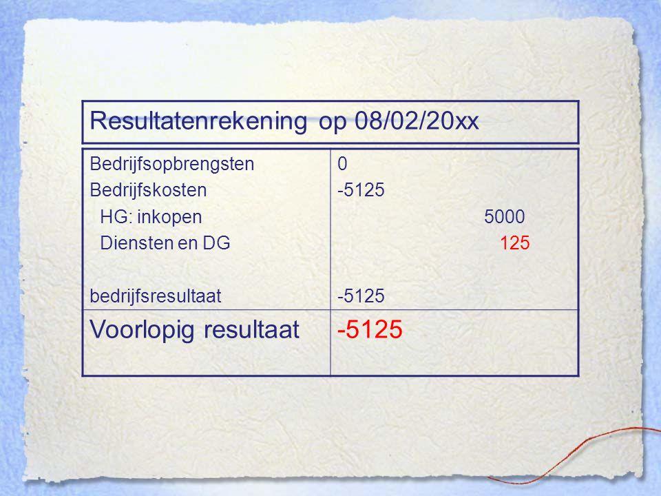 Resultatenrekening op 08/02/20xx Bedrijfsopbrengsten Bedrijfskosten HG: inkopen Diensten en DG bedrijfsresultaat 0 -5125 5000 125 -5125 Voorlopig resu