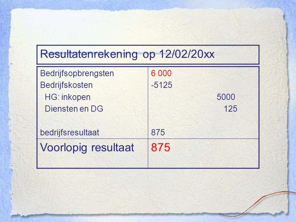 Resultatenrekening op 12/02/20xx Bedrijfsopbrengsten Bedrijfskosten HG: inkopen Diensten en DG bedrijfsresultaat 6 000 -5125 5000 125 875 Voorlopig re
