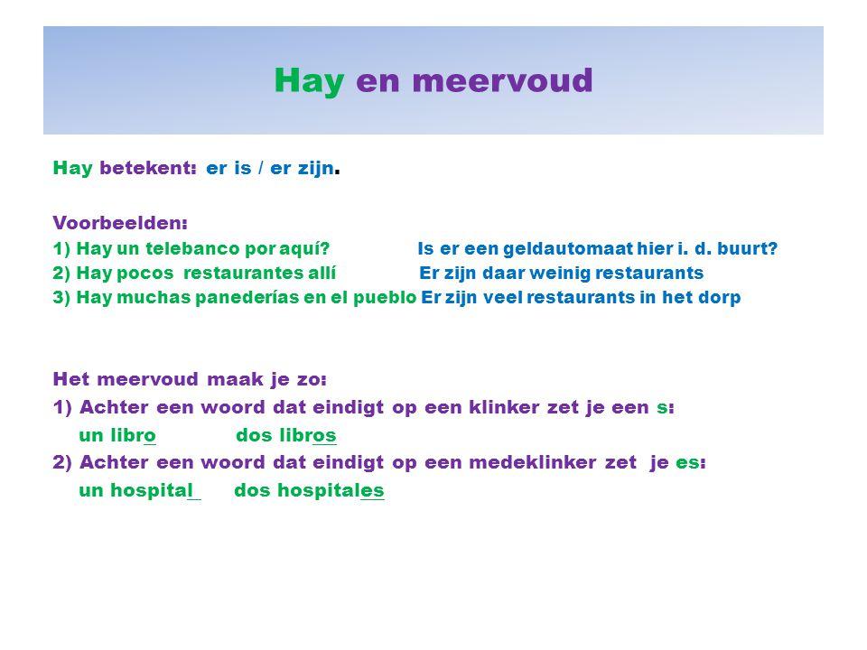 Hay en meervoud Hay betekent: er is / er zijn. Voorbeelden: 1) Hay un telebanco por aquí? Is er een geldautomaat hier i. d. buurt? 2) Hay pocos restau