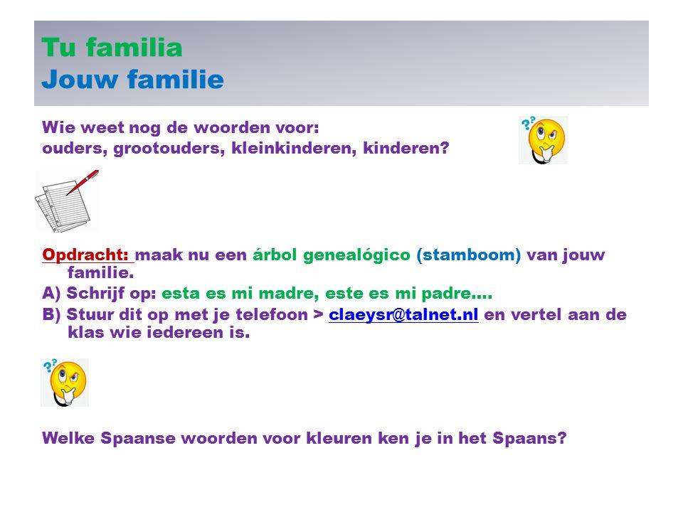 Tu familia Jouw familie Wie weet nog de woorden voor: ouders, grootouders, kleinkinderen, kinderen? Opdracht: maak nu een árbol genealógico (stamboom)