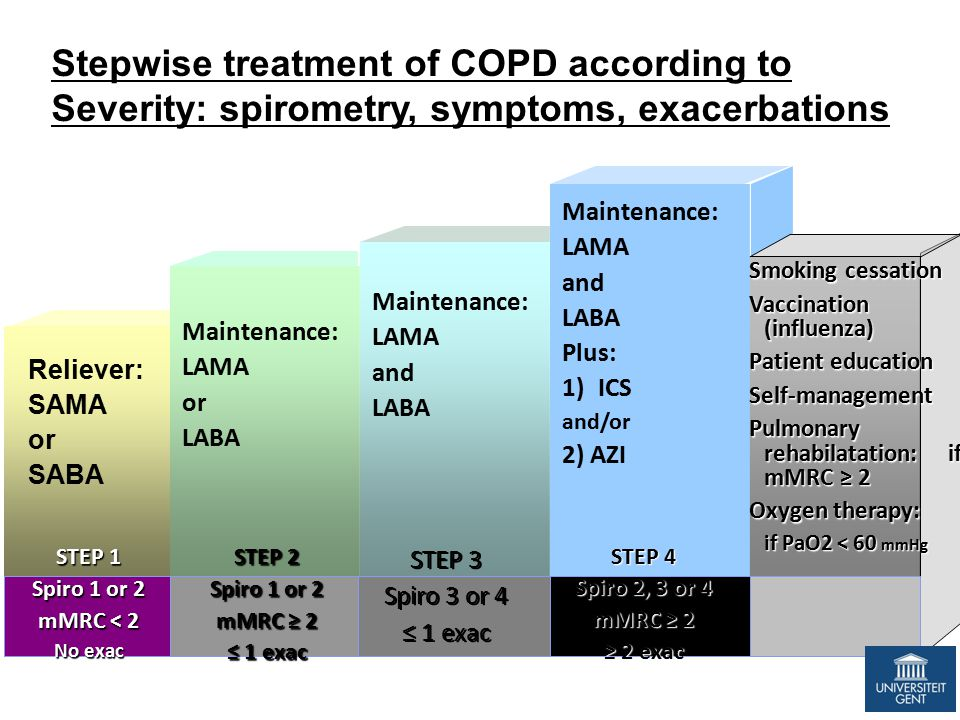 SABA ± SAAC SOS Maintenance: LAMA or LABA Maintenance: LAMA and LABA Maintenance: LAMA and LABA Plus: 1)ICS and/or 2) AZI Smoking cessation Vaccination (influenza) Patient education Self-management Pulmonary rehabilatation: if mMRC ≥ 2 Oxygen therapy: if PaO2 < 60 mmHg STEP 1 Spiro 1 or 2 mMRC < 2 No exac STEP 2 Spiro 1 or 2 mMRC ≥ 2 ≤ 1 exac STEP 3 Spiro 3 or 4 ≤ 1 exac STEP 3 Spiro 3 or 4 ≤ 1 exac STEP 4 Spiro 2, 3 or 4 mMRC ≥ 2 ≥ 2 exac Reliever: SAMA or SABA Stepwise treatment of COPD according to Severity: spirometry, symptoms, exacerbations