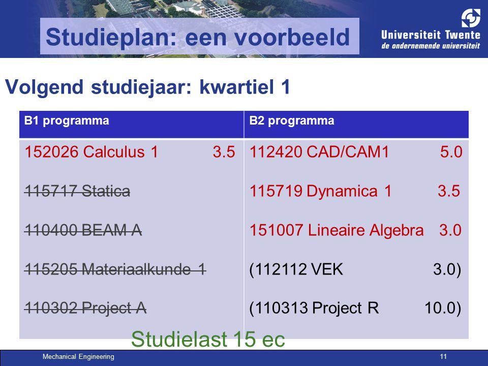 Mechanical Engineering11 Studieplan: een voorbeeld Volgend studiejaar: kwartiel 1 B1 programmaB2 programma 152026 Calculus 1 3.5 115717 Statica 110400 BEAM A 115205 Materiaalkunde 1 110302 Project A 112420 CAD/CAM1 5.0 115719 Dynamica 1 3.5 151007 Lineaire Algebra 3.0 (112112 VEK 3.0) (110313 Project R 10.0) Studielast 15 ec
