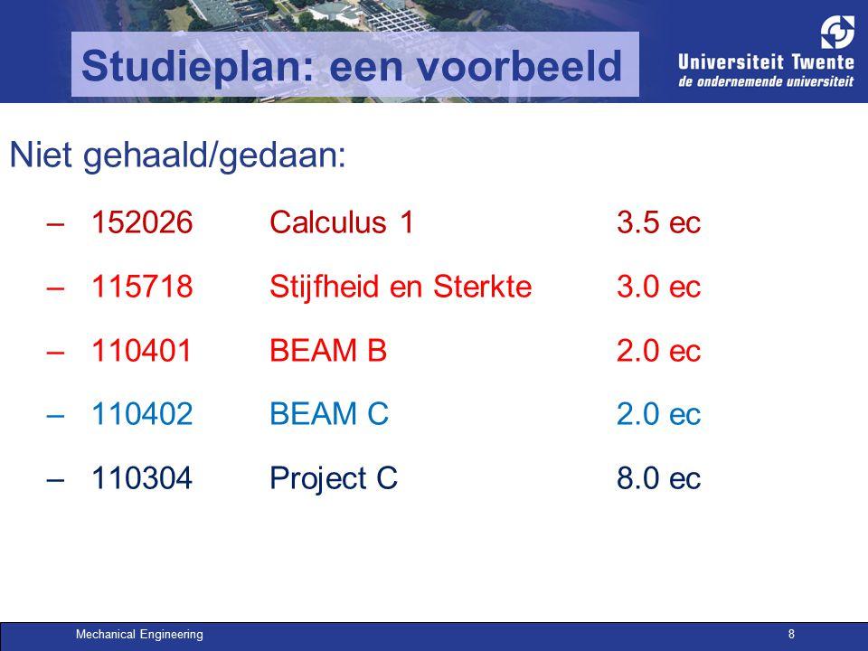 Mechanical Engineering8 Studieplan: een voorbeeld Niet gehaald/gedaan: –152026Calculus 13.5 ec –115718Stijfheid en Sterkte3.0 ec –110401 BEAM B2.0 ec –110402 BEAM C2.0 ec –110304Project C8.0 ec