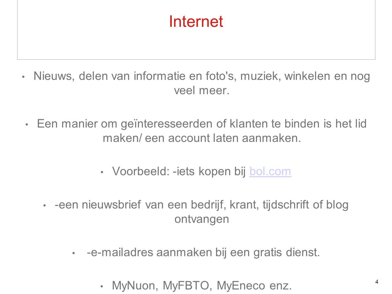 Internet Nieuws, delen van informatie en foto s, muziek, winkelen en nog veel meer.