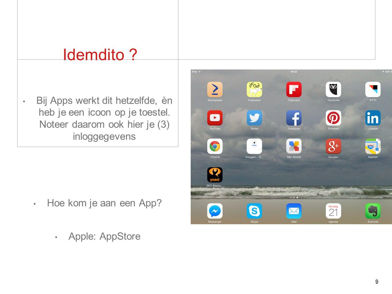 Idemdito . Bij Apps werkt dit hetzelfde, èn heb je een icoon op je toestel.