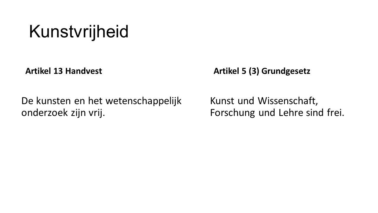 Kunstvrijheid Artikel 13 Handvest De kunsten en het wetenschappelijk onderzoek zijn vrij. Artikel 5 (3) Grundgesetz Kunst und Wissenschaft, Forschung