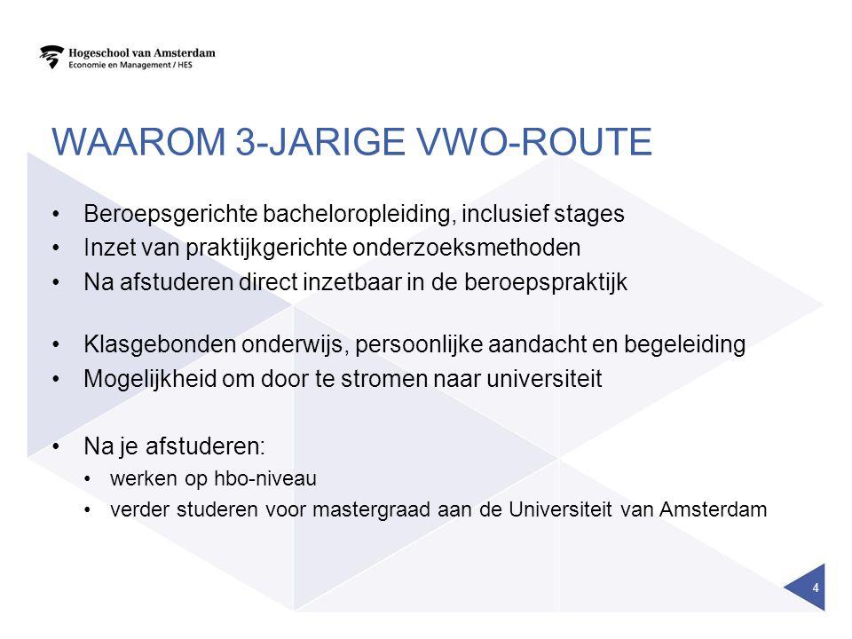 WAAROM 3-JARIGE VWO-ROUTE Beroepsgerichte bacheloropleiding, inclusief stages Inzet van praktijkgerichte onderzoeksmethoden Na afstuderen direct inzet