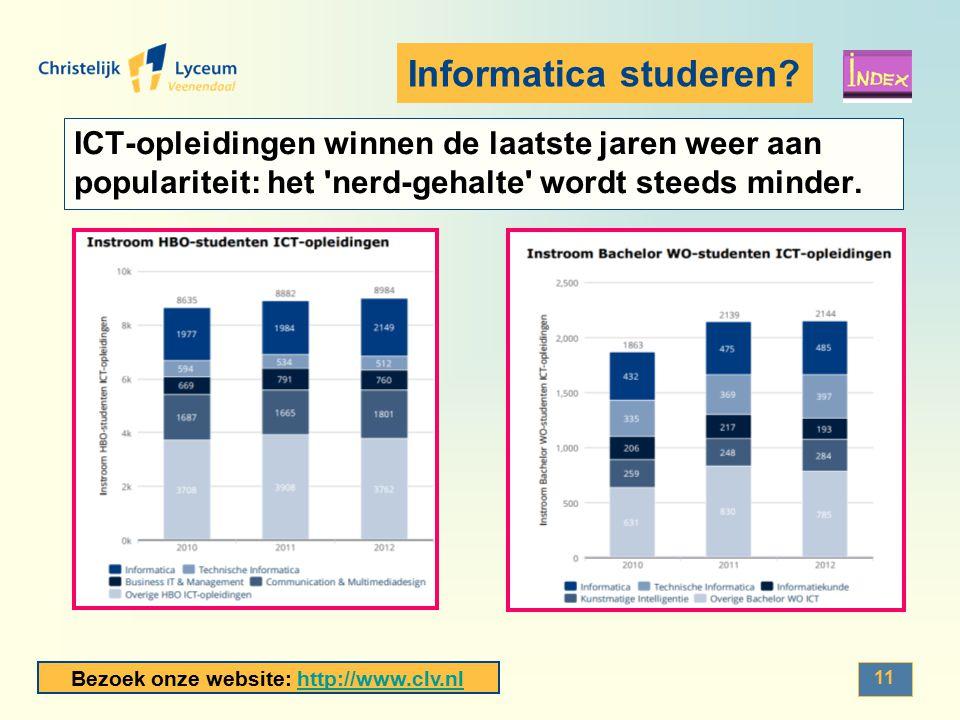 Bezoek onze website: http://www.clv.nlhttp://www.clv.nl 11 Informatica studeren? ICT-opleidingen winnen de laatste jaren weer aan populariteit: het 'n