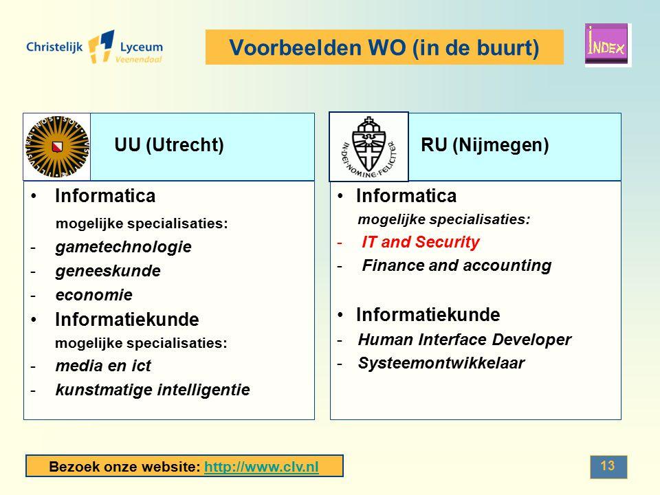 Bezoek onze website: http://www.clv.nlhttp://www.clv.nl 13 Voorbeelden WO (in de buurt) UU (Utrecht)RU (Nijmegen) Informatica mogelijke specialisaties